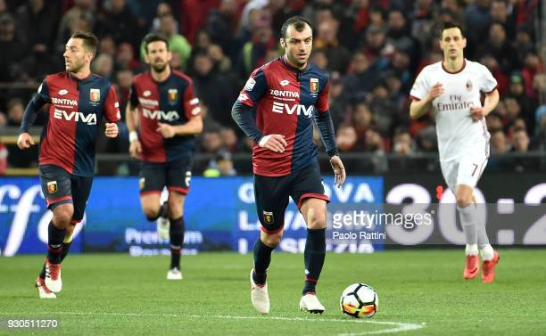 Goran Pandef of Genoa in action during the serie A match between Genoa CFC and AC Milan at Stadio Luigi Ferraris on March 11 2018 in Genoa Italy