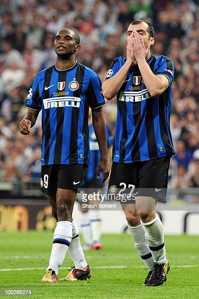 Goran Pandev and Samuel Eto'o of Inter Milan react during the UEFA Champions League Final match between FC Bayern Muenchen and Inter Milan at the...