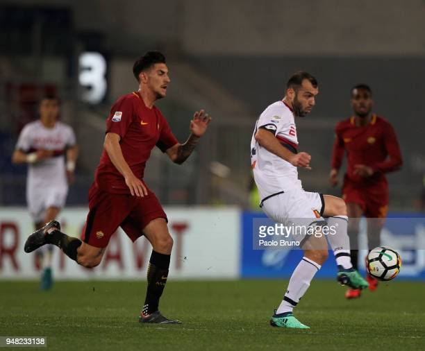 Goran Pandev of AS Roma competes for the ball with Lorenzo Pellegrini of Genoa CFC during the serie A match between AS Roma and Genoa CFC at Stadio...