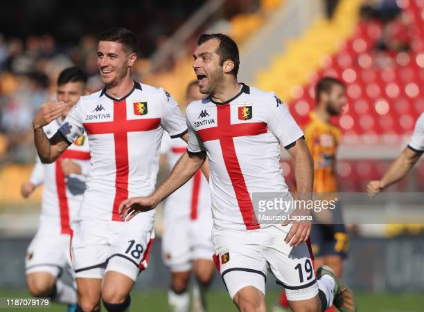 Goran Pandev of Genoa celebrates after scoring his team's opening goal during the Serie A match between US Lecce and Genoa CFC at Stadio Via del Mare...
