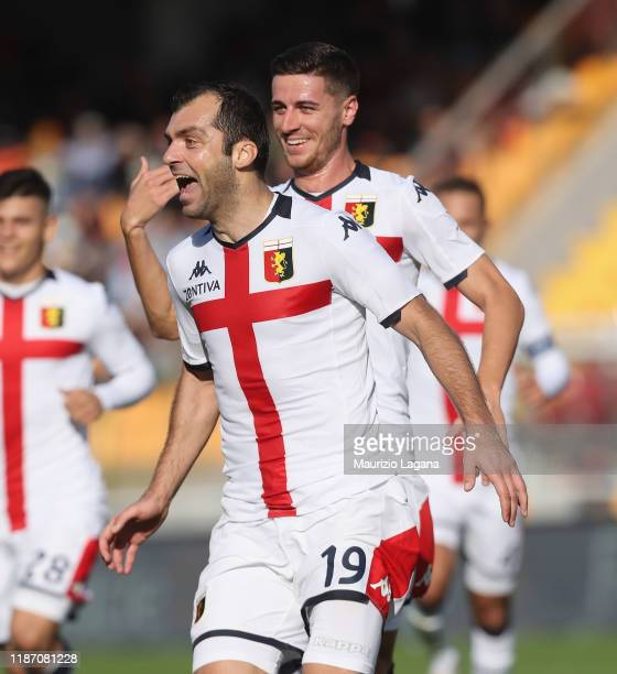 Goran Pandev of Genoa celebrates after scoring his team's opening goal goal goal during the Serie A match between US Lecce and Genoa CFC at Stadio...