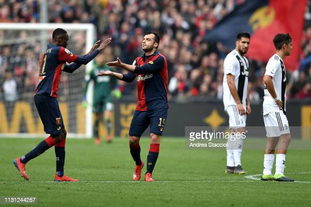 Goran Pandev of Genoa celebrates with Christian Kouame after scored second goal for his side during the Serie A match between Genoa CFC and Juventus...