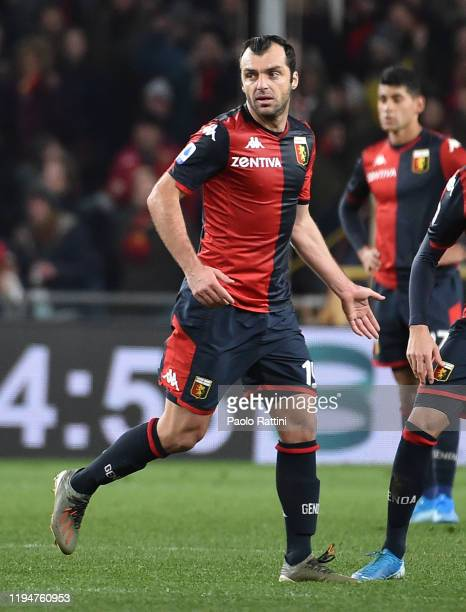 Goran Pandev of Genoa CFC after scoring the 1-2 goal during the Serie A match between Genoa CFC and AS Roma at Stadio Luigi Ferraris on January 19,...