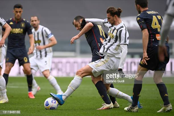 Goran Pandev of Genoa CFC against Adrien Rabiot of Juventus FC during the Serie A match between Juventus and Genoa CFC at Allianz Stadium on April...
