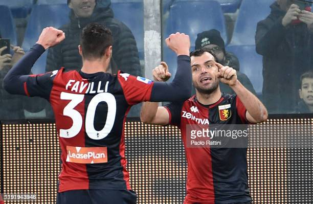 Goran Pandev of Genoa CFC celebrate with Andrea Favilli his goal during the Serie A match between Genoa CFC and US Sassuolo at Stadio Luigi Ferraris...