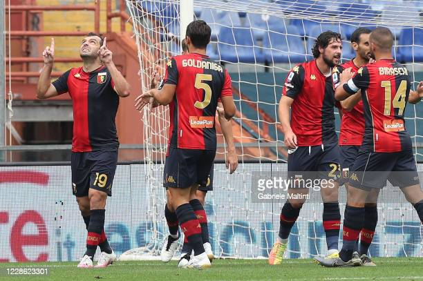 Goran Pandev of Genoa CFC celebrates after scoring a goal during the Serie A match between Genoa CFC and FC Crotone at Stadio Luigi Ferraris on...