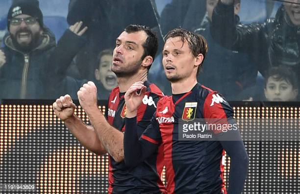 Goran Pandev of Genoa CFC celebrates after scoring his first goal during the Serie A match between Genoa CFC and US Sassuolo at Stadio Luigi Ferraris...