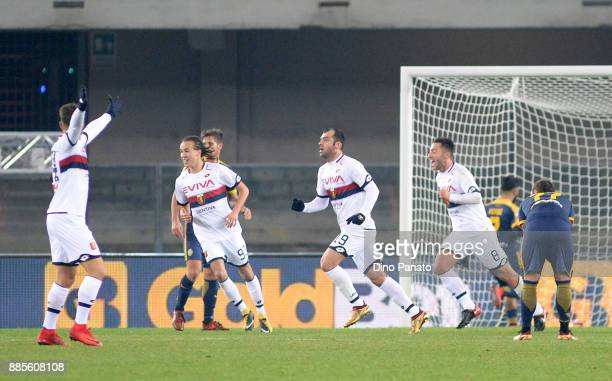 Goran Pandev of Genoa CFC celebrates after scoring his openig goal during the Serie A match between Hellas Verona FC and Genoa CFC at Stadio...