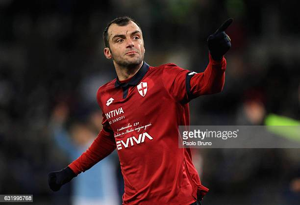 Goran Pandev of Genoa CFC celebrates after scoring the team's second goal during the TIM Cup match between SS Lazio and Genoa CFC at Olimpico Stadium...