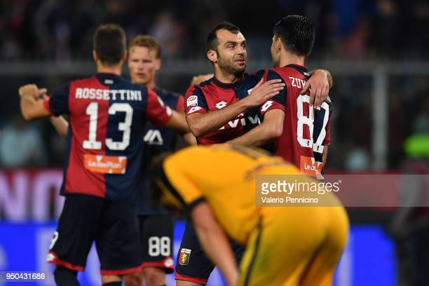 Goran Pandev of Genoa CFC celebrates victory with team mate Ervin Zukanovic at the end of the Serie A match between Genoa CFC and Hellas Verona FC at...