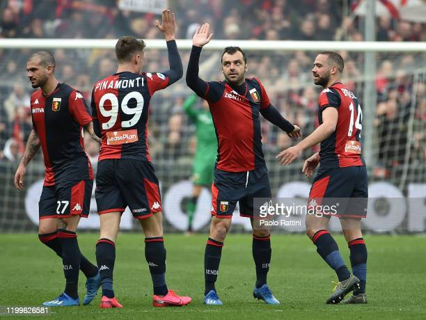 Goran Pandev of Genoa CFC celebrates with teammates after scoring 10 during the Serie A match between Genoa CFC and Cagliari Calcio at Stadio Luigi...