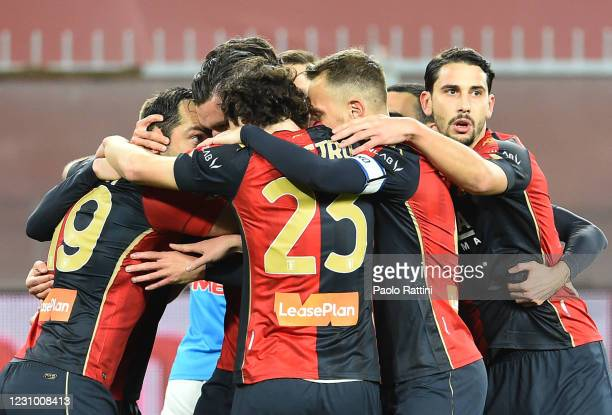 Goran Pandev of Genoa CFC celebrates with teammates after scoring during the Serie A match between Genoa CFC and SSC Napoli- Serie A at Stadio Luigi...