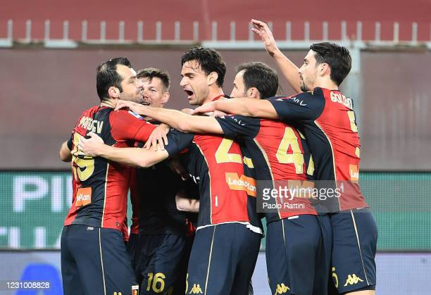 Goran Pandev of Genoa CFC celebrates with teammates after scoring the second goal during the Serie A match between Genoa CFC and SSC Napoli- Serie A...