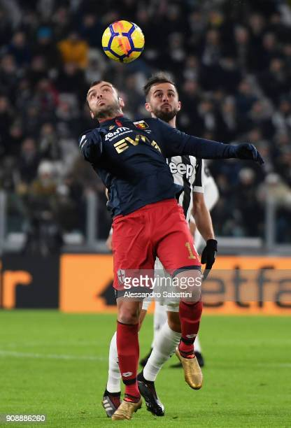 Goran Pandev of Genoa CFC competes for the ball whit Miralem Pjanic of Juventus during the Serie A match between Juventus and Genoa CFC on January 22...