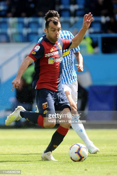 Goran Pandev of Genoa CFC in action during the Serie A match between SPAL and Genoa CFC at Stadio Paolo Mazza on April 28 2019 in Ferrara Italy