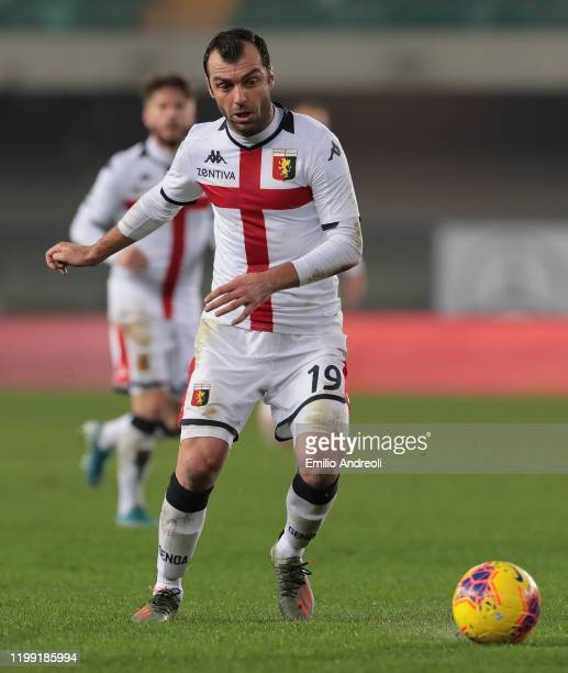 Goran Pandev of Genoa CFC in action during the Serie A match between Hellas Verona and Genoa CFC at Stadio Marcantonio Bentegodi on January 12 2020...