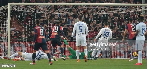 Goran Pandev of Genoa CFC scores his goal during the serie A match between Genoa CFC and FC Internazionale at Stadio Luigi Ferraris on February 17...