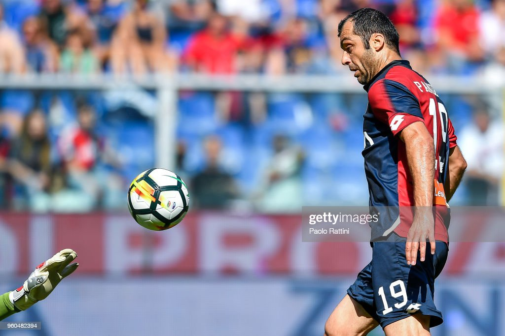 Goran Pandev of Genoa scores a goal during the serie A match between Genoa CFC and Torino FC at Stadio Luigi Ferraris on May 20, 2018 in Genoa, Italy.