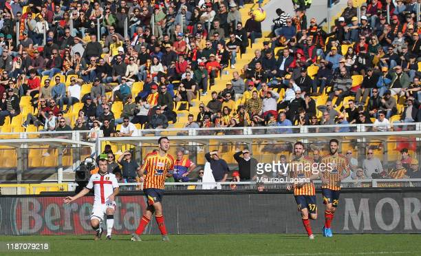 Goran Pandev of Genoa scores his team's opening goal during the Serie A match between US Lecce and Genoa CFC at Stadio Via del Mare on December 8...