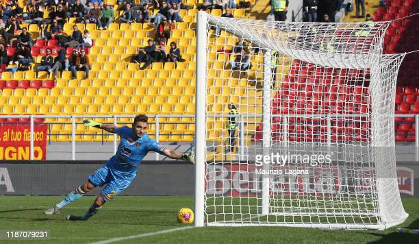Goran Pandev of Genoa scores his team's opening goal during the Serie A match between US Lecce and Genoa CFC at Stadio Via del Mare on December 8,...