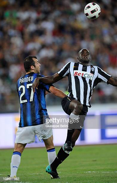 Goran Pandev of Inter and Mohamed Sissoko of Juventus during the TIM preseason tournament at Stadio San Nicola on August 13 2010 in Bari Italy