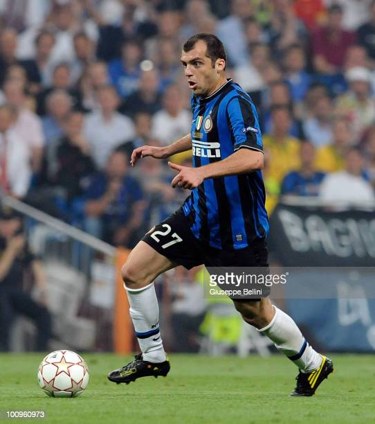 Goran Pandev of Inter Milan in action during the UEFA Champions League Final match between FC Bayern Muenchen and Inter Milan at Bernabeu on May 22...