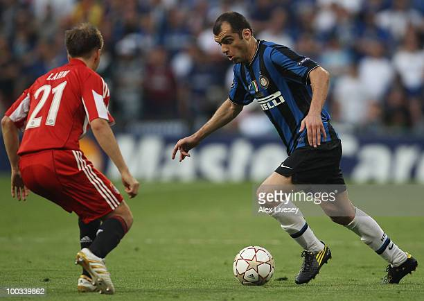 Goran Pandev of Inter Milan takes on Philipp Lahm of Bayern Munich during the UEFA Champions League Final match between FC Bayern Muenchen and Inter...