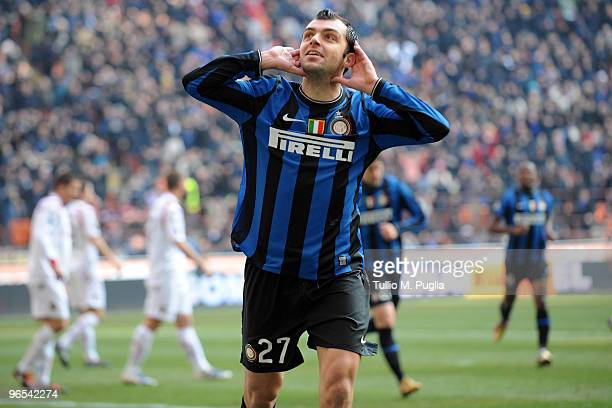 Goran Pandev of Internazionale Milano celebrates the opening goal during the Serie A match between FC Internazionale Milano and Cagliari Calcio at...