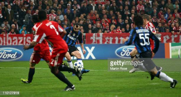 Goran Pandev of Milan scores his team's 3rd goal during the UEFA Champions League round of 16 second leg match between FC Bayern Muenchen and Inter...
