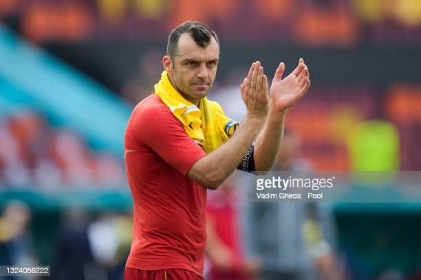 Goran Pandev of North Macedonia applauds the fans after the UEFA Euro 2020 Championship Group C match between Ukraine and North Macedonia at National...