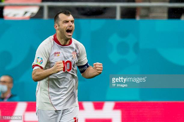 Goran Pandev of North Macedonia celebrates after scoring his team's first goal during the UEFA Euro 2020 Championship Group C match between Austria...