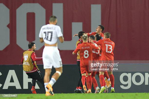 Goran Pandev of North Macedonia celebrates after scoring his team's first goal during the UEFA EURO 2020 Play-Off Final between Georgia and North...
