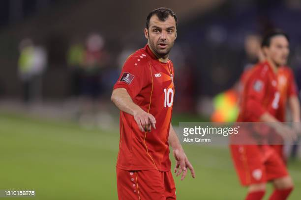 Goran Pandev of North Macedonia celebrates after scoring their side's first goal during the FIFA World Cup 2022 Qatar qualifying match between...