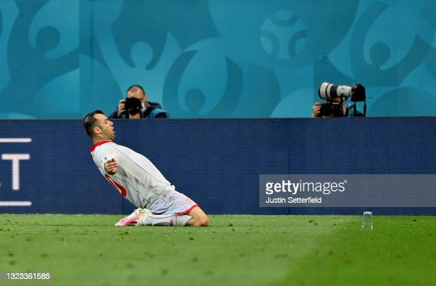 Goran Pandev of North Macedonia celebrates after scoring their side's first goal during the UEFA Euro 2020 Championship Group C match between Austria...