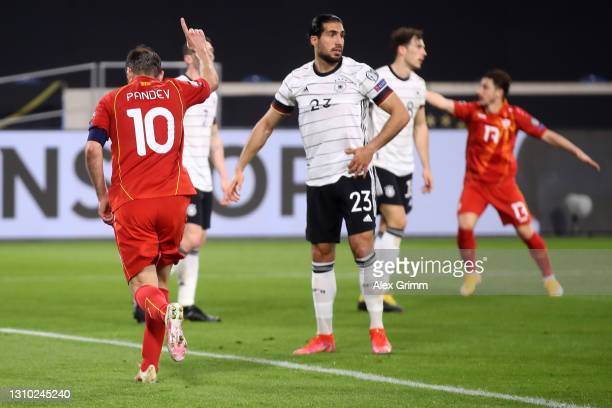 Goran Pandev of North Macedonia celebrates his team's first goal during the FIFA World Cup 2022 Qatar qualifying match between Germany and North...
