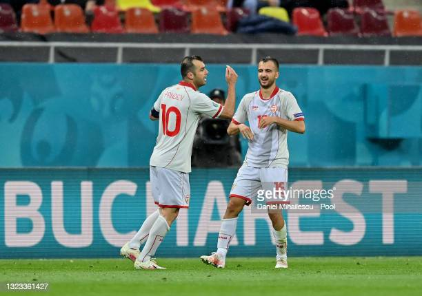 Goran Pandev of North Macedonia celebrates with Boban Nikolov after scoring their side's first goal during the UEFA Euro 2020 Championship Group C...