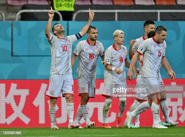 Goran Pandev of North Macedonia celebrates with team mates after scoring their side's first goal during the UEFA Euro 2020 Championship Group C match...