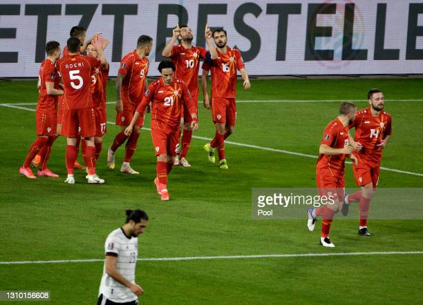 Goran Pandev of North Macedonia celebrates with teammates after scoring their side's first goalduring the FIFA World Cup 2022 Qatar qualifying match...