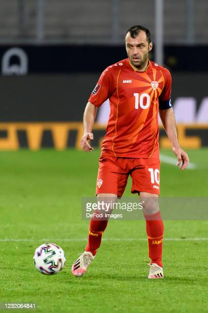 Goran Pandev of North Macedonia controls the ball during the FIFA World Cup 2022 Qatar qualifying match between Germany and North Macedonia on March...