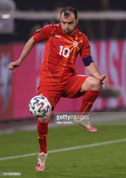 Goran Pandev of North Macedonia controls the ball during the FIFA World Cup 2022 Qatar qualifying match between Germany and North Macedonia at...