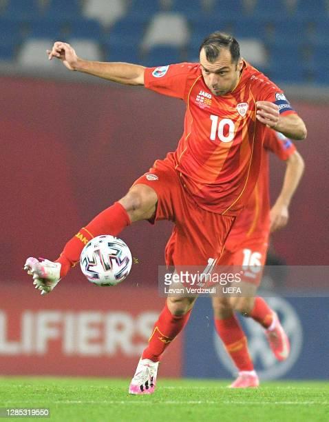 Goran Pandev of North Macedonia controls the ball during the UEFA EURO 2020 Play-Off Final between Georgia and North Macedonia at Dinamo Arena on...