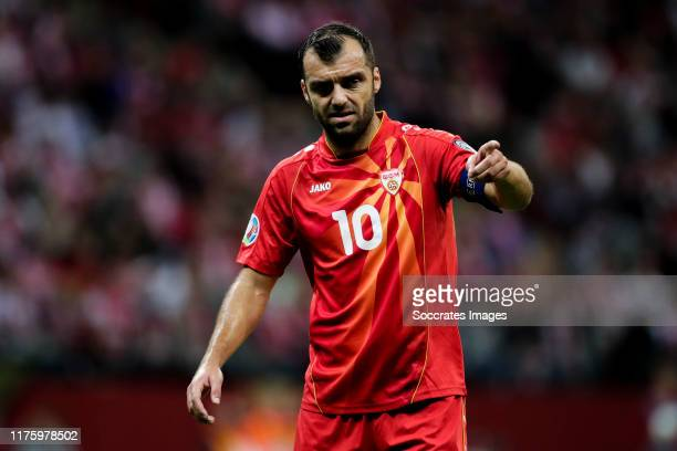 Goran Pandev of North Macedonia during the EURO Qualifier match between Poland v FYR Macedonia at the Stadion Narodowy on October 13, 2019 in...