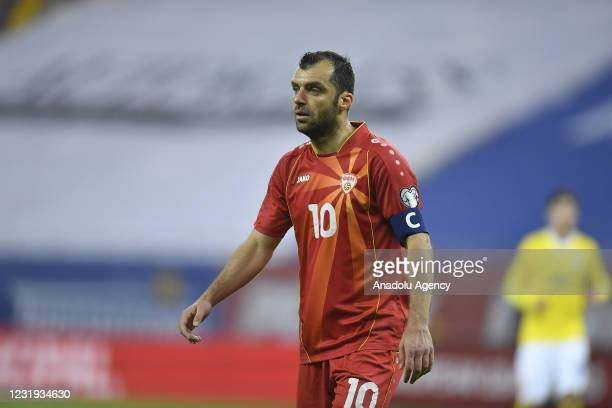 Goran Pandev of North Macedonia in action during the FIFA World Cup Qatar 2022 Group j qualification football match between Romania and North...