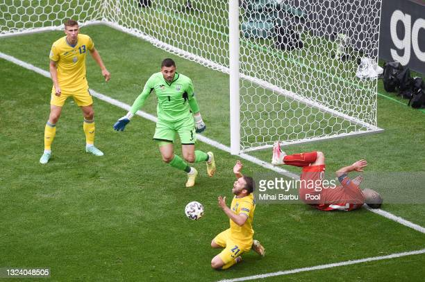 Goran Pandev of North Macedonia is fouled by Oleksandr Karavaev of Ukraine leading to a penalty being awarded during the UEFA Euro 2020 Championship...