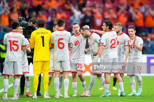 Goran Pandev of North Macedonia is given a guard of honour from team mates as he is substituted during the UEFA Euro 2020 Championship Group C match...