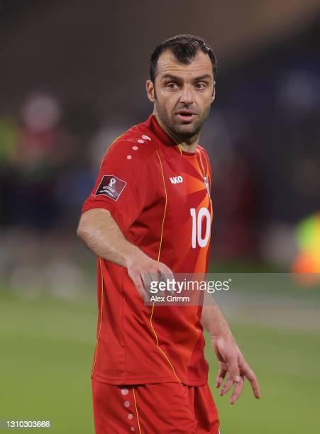 Goran Pandev of North Macedonia reacts during the FIFA World Cup 2022 Qatar qualifying match between Germany and North Macedonia at...