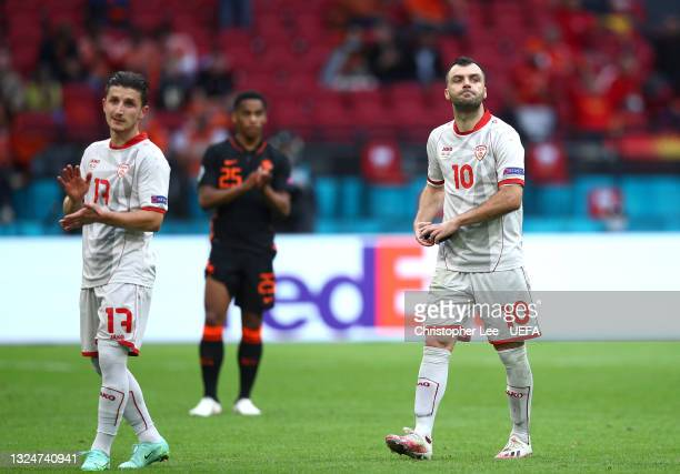 Goran Pandev of North Macedonia removes his captains armband as he is substituted during the UEFA Euro 2020 Championship Group C match between North...