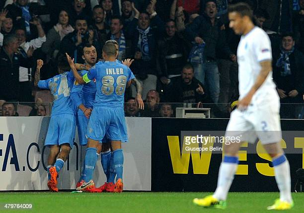 Goran Pandev of SSC Napoli celebrates after scoring the opening goal during the UEFA Europa League Round of 16 match between SSC Napoli and FC Porto...