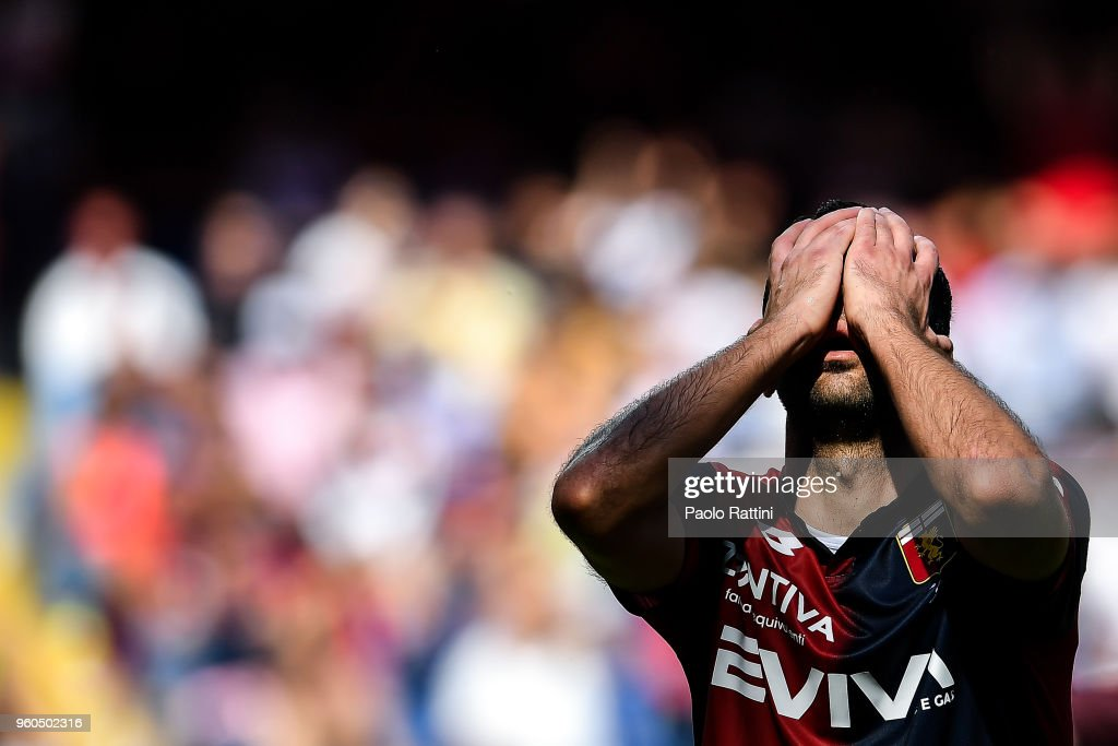 Goran Pandev reacts with disappointment after a missed chance during the serie A match between Genoa CFC and Torino FC at Stadio Luigi Ferraris on May 20, 2018 in Genoa, Italy.