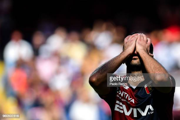 Goran Pandev reacts with disappointment after a missed chance during the serie A match between Genoa CFC and Torino FC at Stadio Luigi Ferraris on...